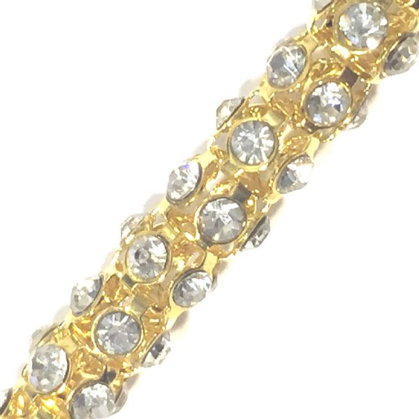 Clear rhinestone gold plated reticulated chain